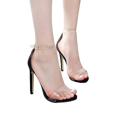d44a7029bf53a4 Femmes Talon Haut 11.5CM Sexy Transparent Boucle Sandales Couleur Unie  Sandales à Bout Ouvert Fête