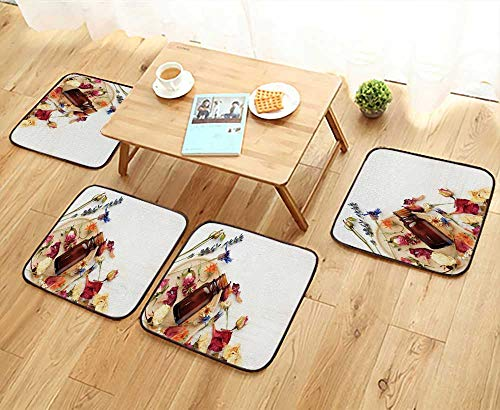UHOO2018 Universal Chair Cushions Bright Medicinal herb Plant on Wooden Plate Essential Oil Personalized Durable W15.5 x L15.5/4PCS Set (Best Essential Oil For Scoliosis)