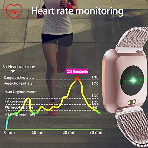 Women Men Smart Watch Fitness Tracker IP68 Waterproof Sports Watch Blood Pressure Heart Rate 9 Sport Mode Sleep Monitor Pedometer Calories Bluetooth Call Reminder Android iOS Mothers Day Birthday Gift