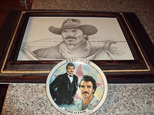 (Framed Print of Tom Selleck Signed by Artist 12/500 plus Bonus Plate)