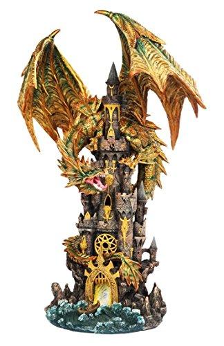 Pagoda Dragon (Golden Dragon On Pagoda Castle Statue Legendary Figurine Vivid Colors)