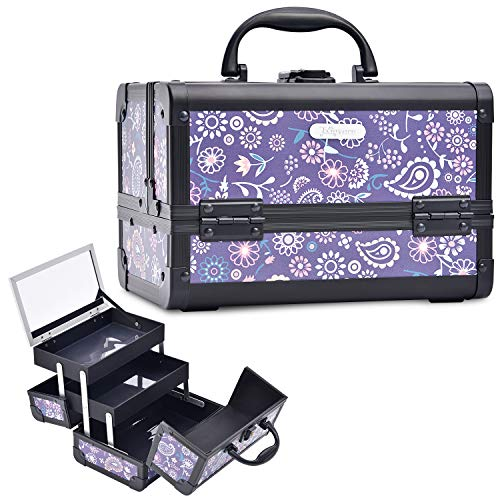 Joligrace Makeup Train Case for Girl Cosmetic Box Jewelry Organizer Lockable with Keys and Mirror 2-Tier Tray Portable Carrying with Handle Travel Storage Box - Purple Floral