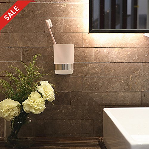 Toothbrush Holder Wall Mounted LUTAVOY LC17 Single Toothbrush Toothpaste Holder Tumbler For Powder Room Bathroom Remodel (Wall Mounted Toothbrush Holder)