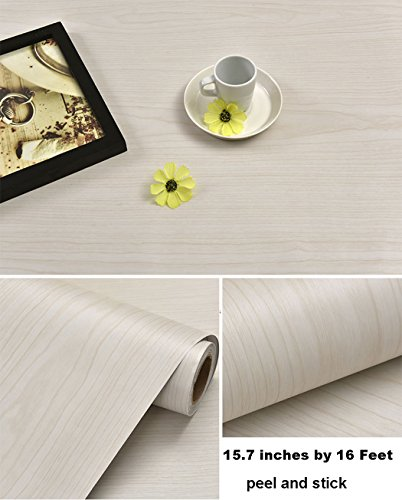 (Glow4u Self Adhesive Light Oak Wood Grain Contact Paper Shelf Drawer Liner for Kitchen Cabinets Shelves Drawer Cupboards Table Arts and Crafts Decal 15.7x197)