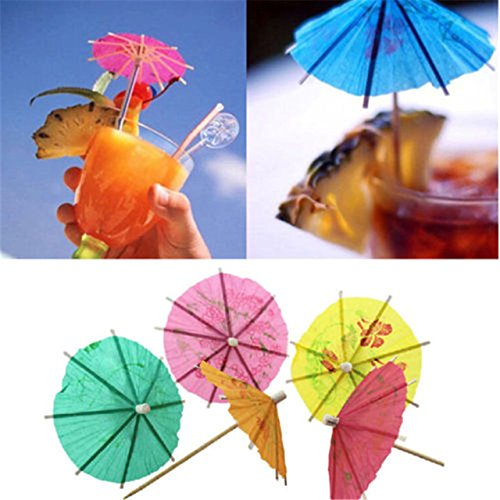 Paper Cocktail Parasols - 50 Pieces Quality Paper Drink Cocktail Parasols Umbrellas Sticks Party Wedding Decoration - RANDOM COLOR -