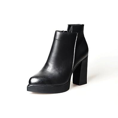 MEI&S Womens Block Spitze Zehe Kurze Ankle Boots Schuhe, Schwarz, 36 LSM-Stiefel