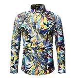Men's Fashion Hip Hop Dress Shirt Long Sleeve Lapel Floral Print Slim Fit Casual Button Shirt Tops Fmeijia White