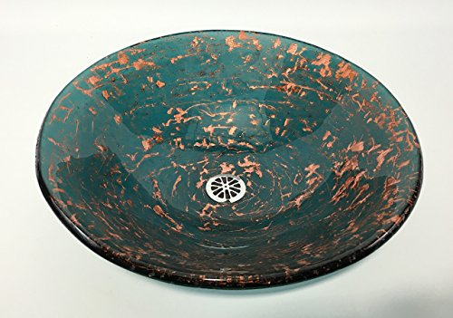 Sea Blue and Copper Glass Bathroom Vessel Sink by Millican Art Glass