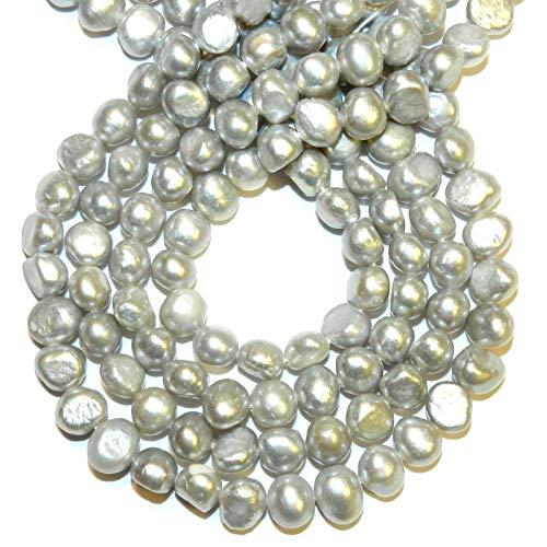 Silver Gray 6mm - 7mm Flat Potato Cultured Freshwater Pearl Gemstone Beads #ID-6937