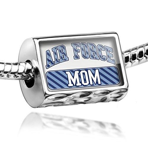 NEONBLOND Bead Air Force Mom, Blue stripes Charm Fits All European Bracelets