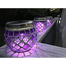 SOLAR MOSAIC LAVENDER LANTERNS - SET OF 3