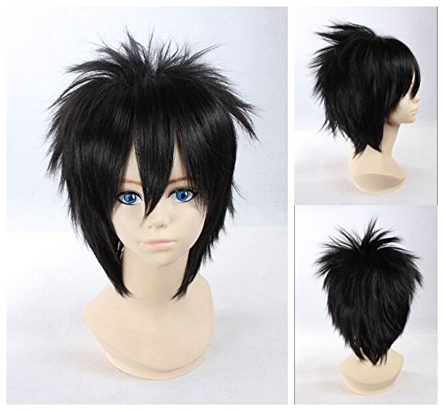 [Kadiya Short Black Mens Stylish Cosplay Wigs Synthetic Hair High Quality] (L Costume Death Note)