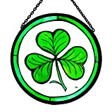 Decorative Hand Painted Stained Glass Window Sun Catcher/Roundel in a Shamrock Design