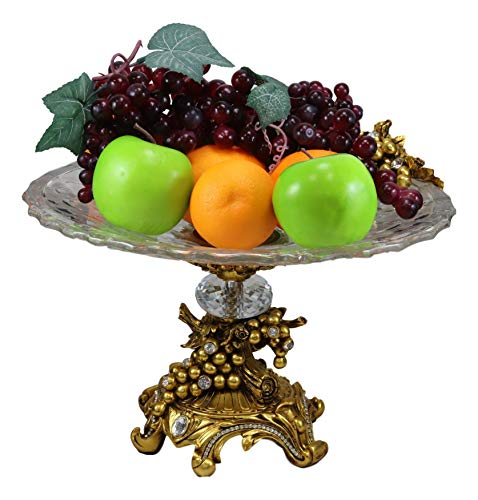 "Ebros Gift Vintage Antique Baroque Design Large Crystal Glass Round Dish 16""Wide Dessert Platter Stand With Electroplated Gold Fruits And Grapes Themed Base Sculpture And Austrian Crystals Centerpiece"
