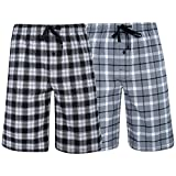 Hanes Men's  Big Men's Woven Stretch Pajama Shorts  2 Pack Grey  Black XXXXX-Large
