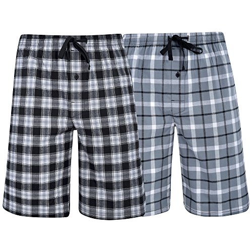 Hanes Men's  Big Men's Woven Stretch Pajama Shorts  2 Pack Grey  Black XXXX-Large