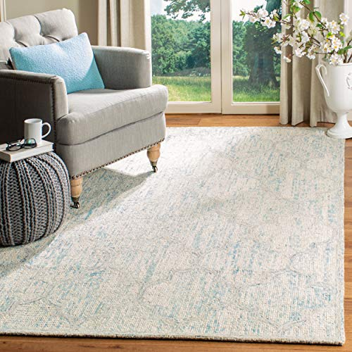 Abstract Collection - Safavieh ABT474B-9 Abstract Collection ABT474B Ivory and Light Blue Premium Wool (9' x 12') Area Rug,