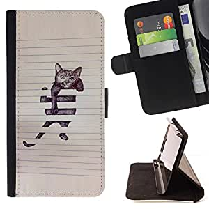 Momo Phone Case / Flip Funda de Cuero Case Cover - Peinture mignon Sketch Pet Kitten - Sony Xperia Z5 Compact Z5 Mini (Not for Normal Z5)