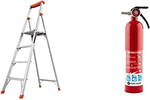 Little Giant Ladders, Flip-N-Lite, 6-Foot, Stepladder, Aluminum, Type 1A, 300 lbs Rated (15270-001) & First Alert 1038789 Standard Home Fire Extinguisher, Red