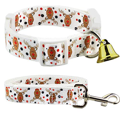 Reindeer Season - Bolbove Adjustable Pet Christmas Festive Collar and Leash Set with Bell for Dogs Holiday Season (Small, White Reindeer)