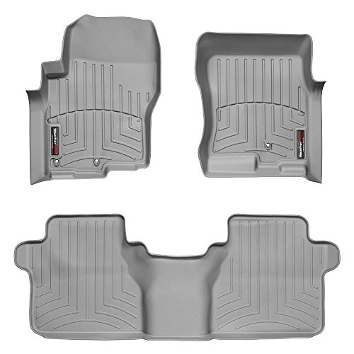2005-2015 Nissan Frontier-Weathertech Floor Liners-Full Set (Includes 1st and 2nd Row)-Fits Crew Cab with Two Retention Hooks On Driver Side-Grey ()