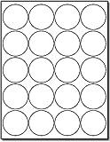 "White 2"" Round Circle Labels - 20 Labels Per Sheet - for Inkjet & Laser Printers - 25 Sheets / 500 Labels"