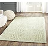 Safavieh Martha Stewart Collection MSR3612D Premium Wool and Viscose Chevron Leaves Milk Pail Green Area Rug (4′ x 6′) For Sale