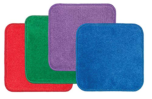 Flagship Carpets Stow N' Go Jumbo Carpet Squares for Classroom or Play Space, Red/Green/Purple/Blue