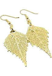 Gold-Plated Birch Leaf Earrings