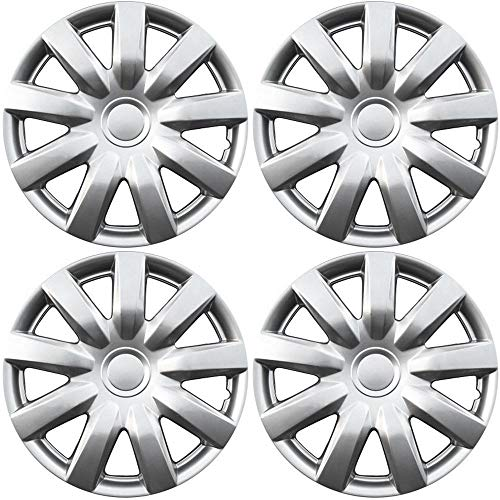 15 inch Hubcaps Best for 2004-2006 Toyota Camry - (Set of 4) Wheel Covers 15in Hub Caps Silver Rim Cover - Car Accessories for 15 inch Wheels - Snap On Hubcap, Auto Tire Replacement Exterior Cap