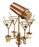 Good Directions Martini with Glasses Garden Weathervane with Garden Pole, Pure Copper