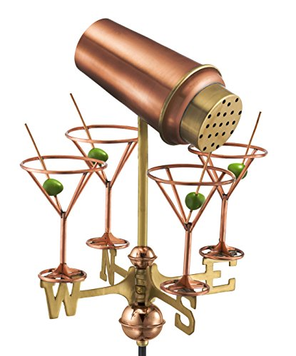 Good Directions 8861PG Martini with Glasses Garden Weathervane, Polished Copper with Garden Pole