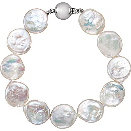 Freshwater Cultured Coin Pearl Bracelet in Sterling Silver Cultured Coin Pearl Bracelet