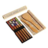 Gosear Complete Bamboo Sushi Making Kit 2 Sushi Rolling Mats Rice Spoon Rice Spreader 5 Pair Chopsticks