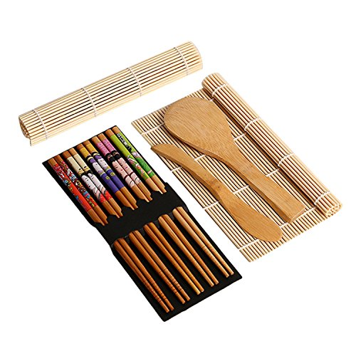 Gosear Complete Bamboo Sushi Making Kit - 2 Sushi Rolling Mats+Rice Spoon+Rice Spreader + 5 Pair Chopsticks