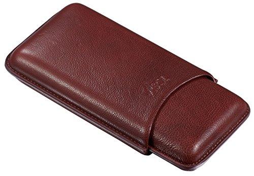 Visol Legend Brown Genuine Leather CIGAR Case - Holds 3 Cigars (3 Finger Cigar Case Leather)