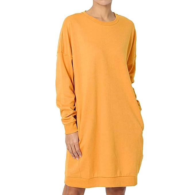 Luckycat Mujeres Casual Manga Larga Suelta Casual Pullover Tops Sudadera Mini Vestido (Amarillo, Pequeña