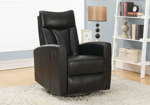 Glider Full Recliner Swivel Leather (Monarch Specialties I 8087BK Bonded Leather Recliner Swivel Glider, Black)