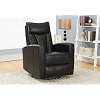 Monarch Specialties I 8087BK Black Bonded Leather Recliner Swivel Glider