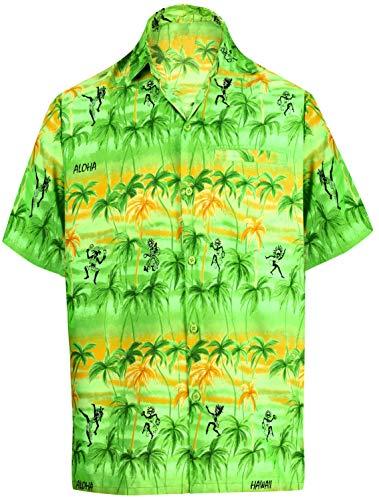 LEELA Likre Short Sleeves Shirt Parrot Green 298 3XL  Chest 60