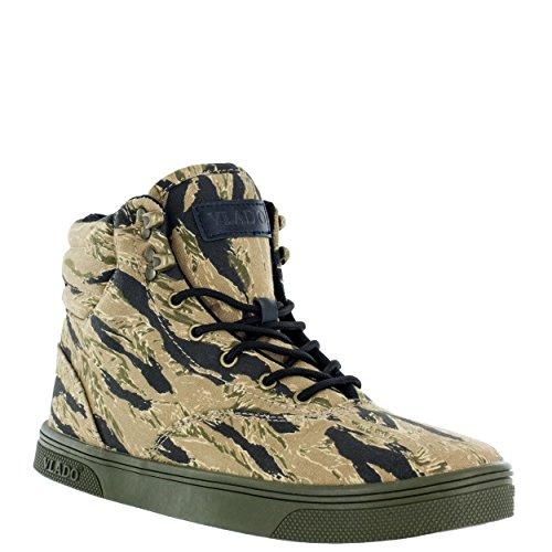 Vlado Footwear Men's Milo Canvas High Top Tiger Camo High Top Sneaker Boot - Top Footwear High