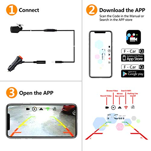 GreenYi WiFi Phone Backup Camera, Wireless Car HD 720P Reverse Rear View  Camera Work with Most Smart Devices by APP