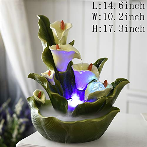 Statues Decoration Crafts,Desktop Water Ornaments Flower Fairy Fountain -Calla Lily 17.3inch ()
