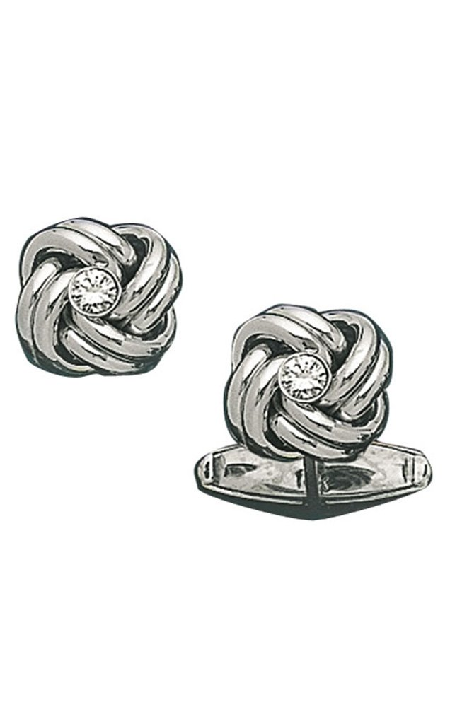 14K White Gold Solid Love Knot Cufflinks with Center Diamond-86280