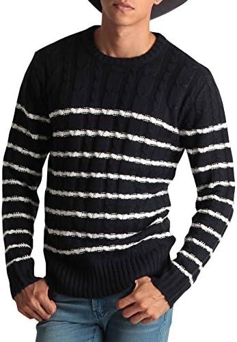 クルーネック ケーブル編み ニット メンズ セーター カラーニット ニットソー 長袖 カジュアル ストリート アメカジ 防寒 秋冬