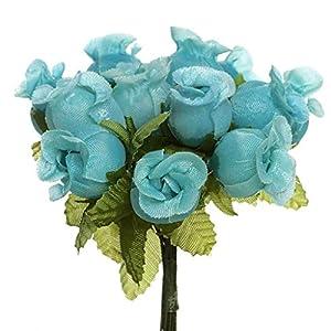 CB 144 Miniature Poly Rose Silk Favor Flower Pick Wedding Shower - Aqua 10