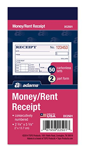 Adams Money and Rent Receipt, 2-3/4 x 5-3/8 Inches, 2-Parts, Carbonless, White/Canary, 50 Sets per Book, 3 Books (DC2501-3)