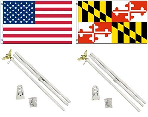 NEW 3'x5' MARYLAND & AMERICAN US Flags & 2 POLE KITS