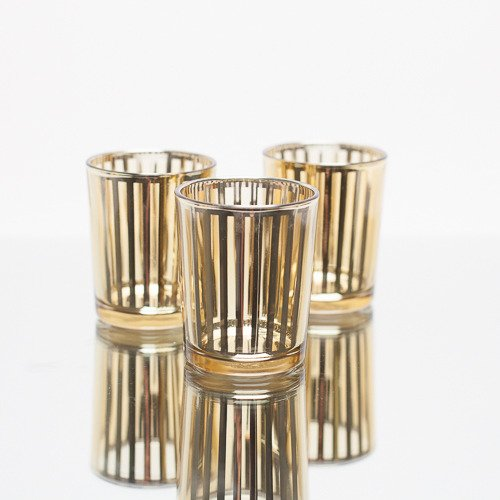 Richland Stripe Gold Metallic Glass Candle Holder Small Set