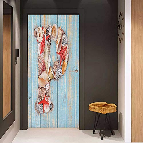 Onefzc Automatic Door Sticker Letter P P Letter Alphabet with Ocean Elements Pale Blue Wooden Background Easy-to-Clean, Durable W17.1 x H78.7 Pale Blue Ivory Dark Coral